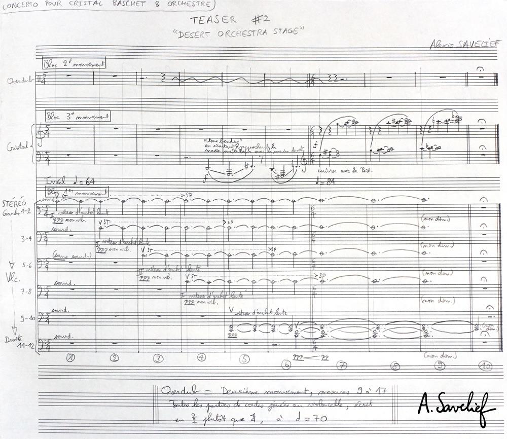 """Première esquisse du """"Teaser #2— Desert Orchestra Stage"""" de """"Leading Astray"""", Concerto pour Cristal Baschet & Orchestre d'Alexis Savelief"""