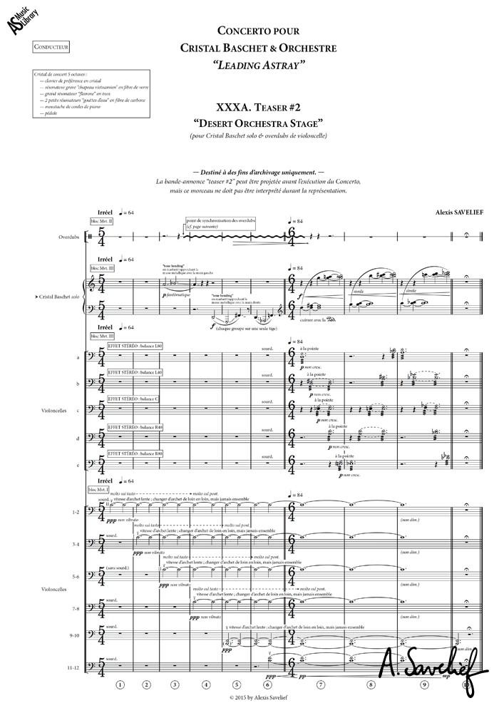 """Partition copiée du """"Teaser #2— Desert Orchestra Stage"""" de """"Leading Astray"""", Concerto pour Cristal Baschet & Orchestre d'Alexis Savelief"""