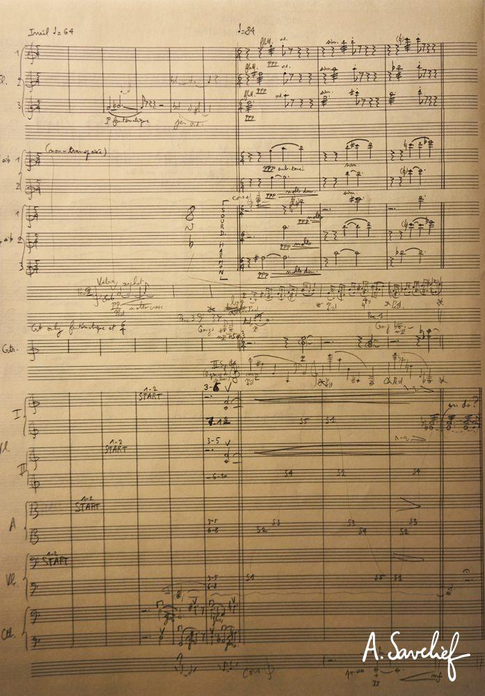 """Première esquisse de l'introduction de """"Leading Astray"""", Concerto pour Cristal Baschet & Orchestre d'Alexis Savelief"""