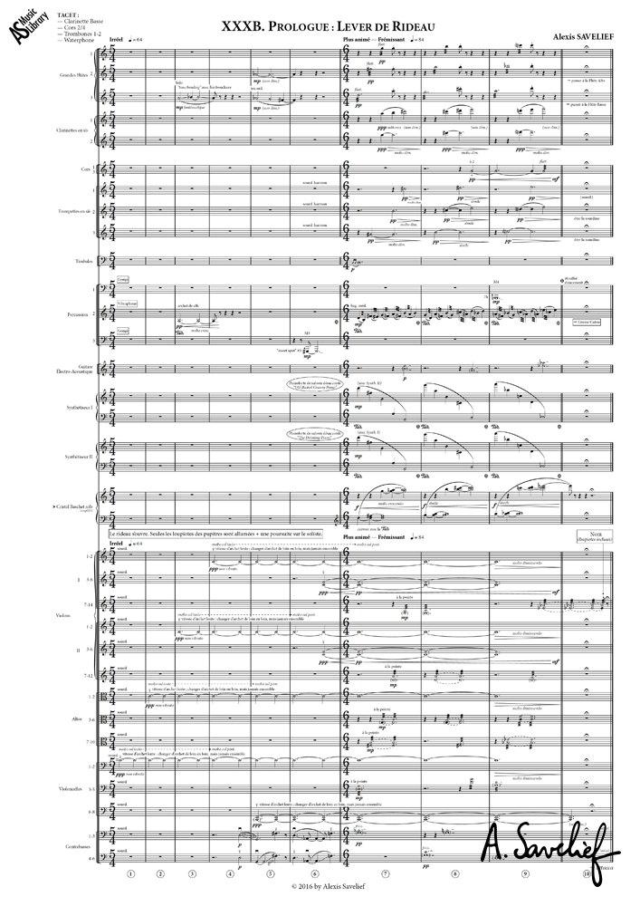 """Partition copiée de l'introduction de """"Leading Astray"""", Concerto pour Cristal Baschet & Orchestre d'Alexis Savelief"""
