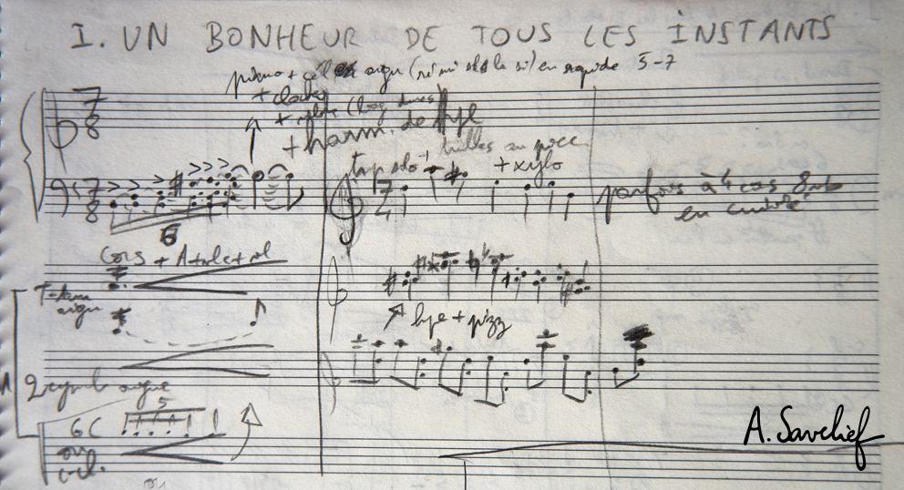 """Première esquisse de la """"Suite Nosferatu"""" pour grand orchestre symphonique d'Alexis Savelief"""