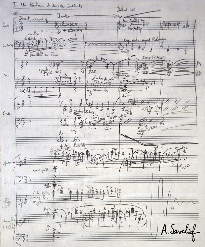 """Deuxième esquisse de la """"Suite Nosferatu"""" pour grand orchestre symphonique d'Alexis Savelief"""