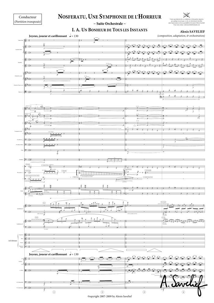 """Partition copiée de la """"Suite Nosferatu"""" pour grand orchestre symphonique d'Alexis Savelief"""