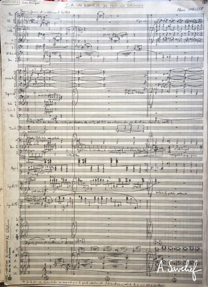 """Partition manuscrite mise au propre de la """"Suite Nosferatu"""" pour grand orchestre symphonique d'Alexis Savelief"""